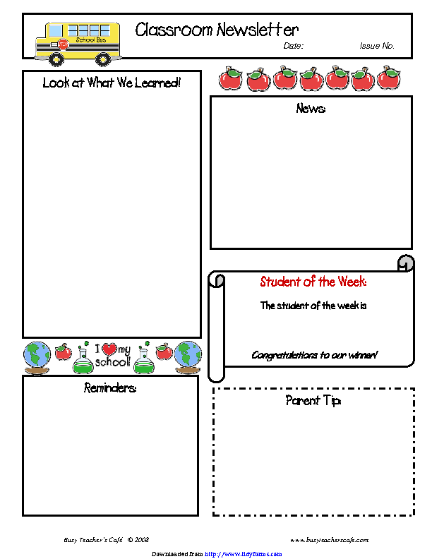 Classroom Newsletter Template 1