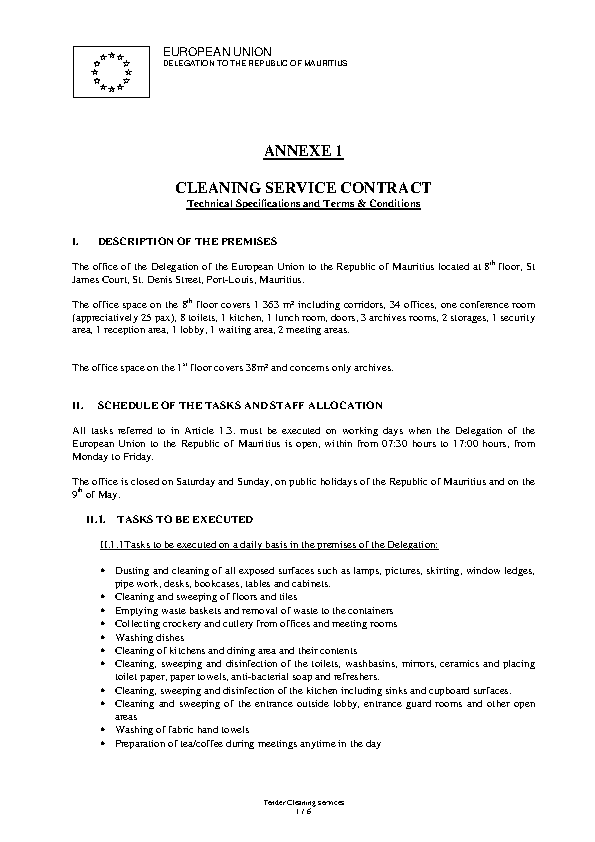 Cleaning Contract Template Pdf