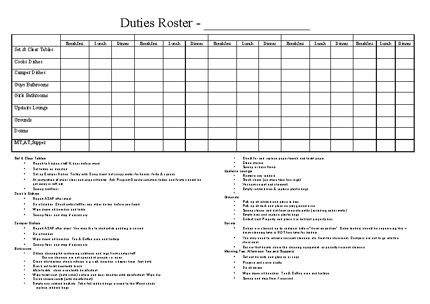 Cleaning Duty Roster Template2