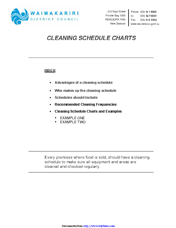Cleaning Schedule Charts