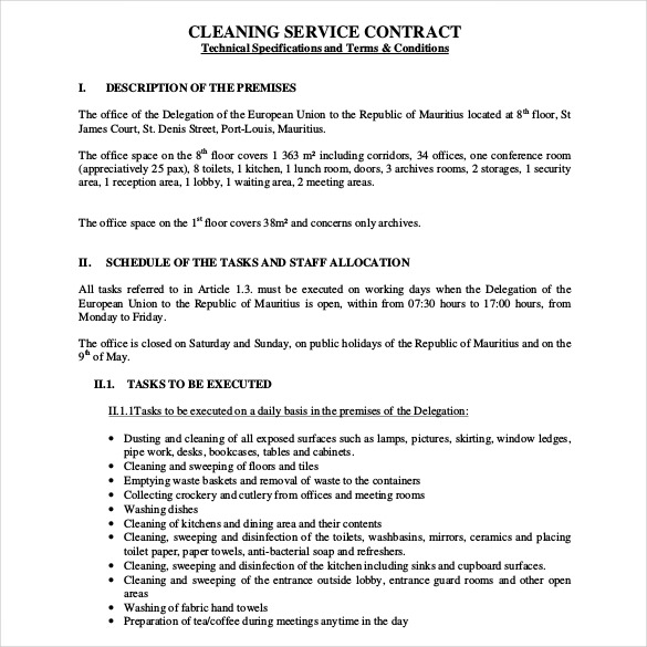 Cleaning Service Contract Template Free Pdf Format