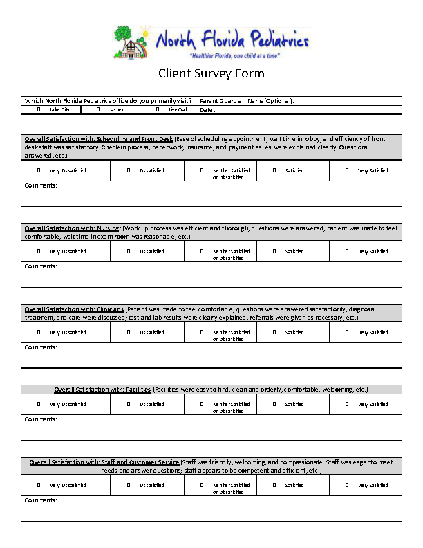 Client Survey Form Template