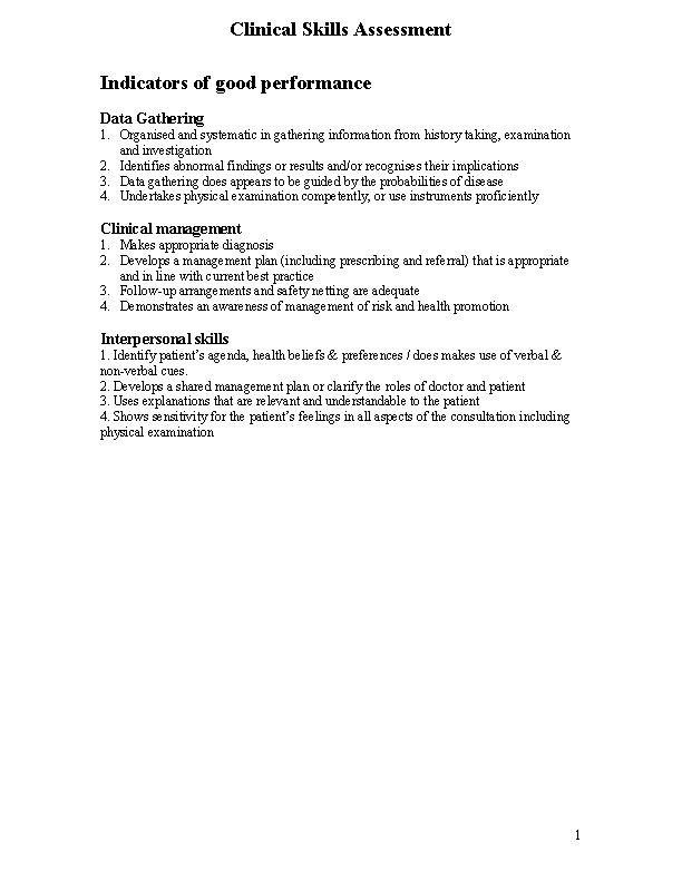 Clinical Skills Assessment Template