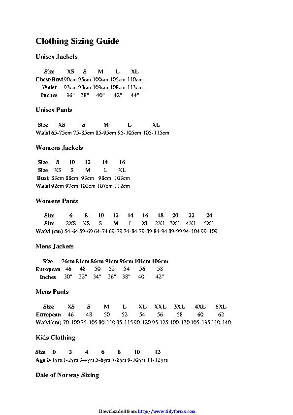 Clothing Sizing Chart