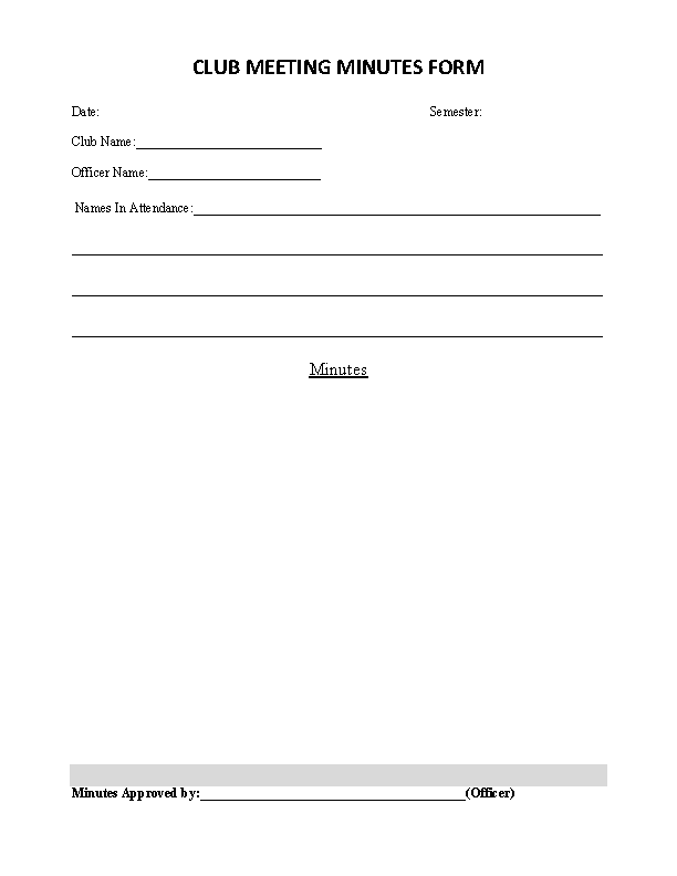 Club Meeting Minutes Form Template