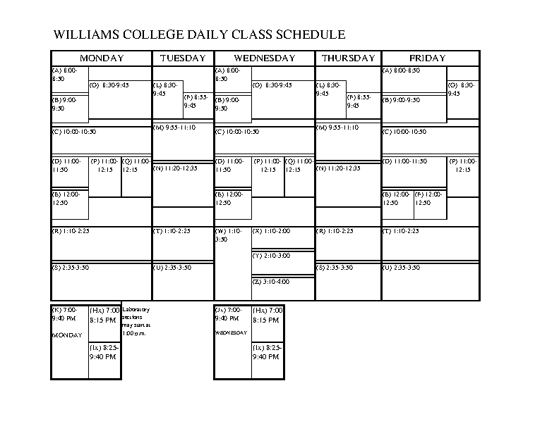 College Daily Class Schedule