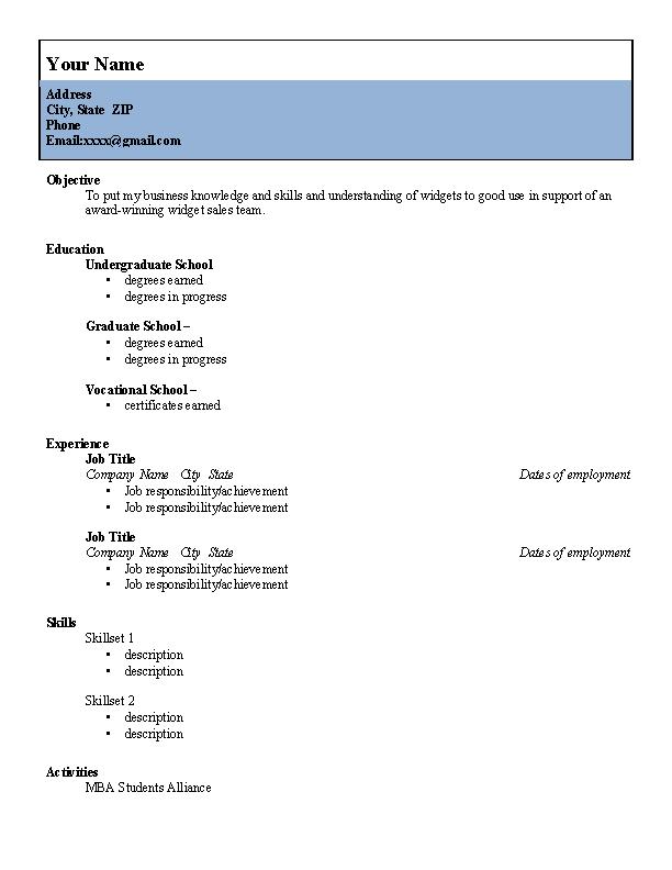 College Student Resume