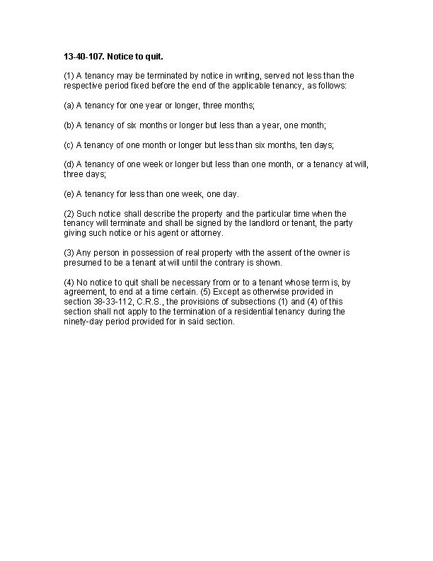 Colorado 13 40 107 Notice To Quit