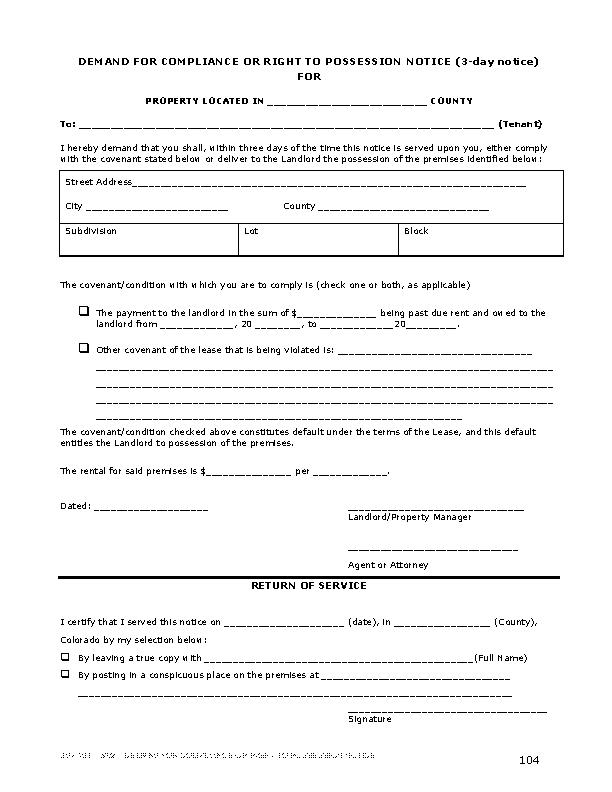 Colorado 3 Day Notice To Quit Form