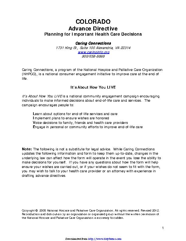 Colorado Advance Medical Directive Form 1
