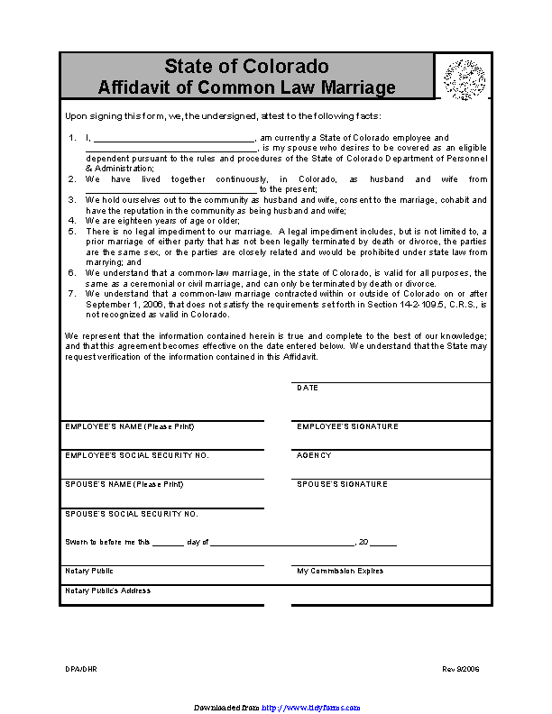 Colorado Affidavit Of Common Law Marriage