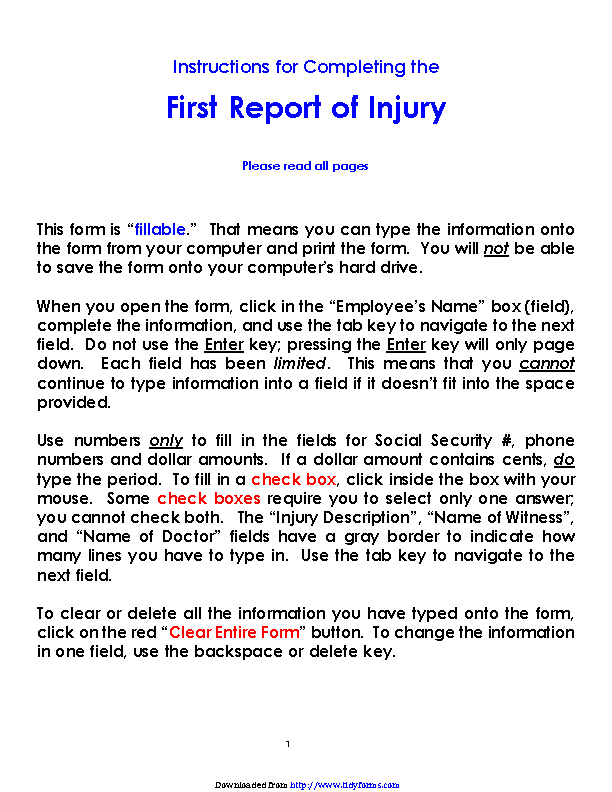 Colorado First Report Of Injury Form