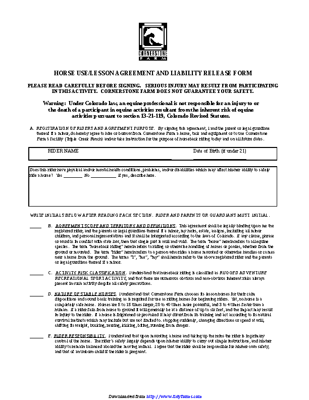 Colorado Horse Use Or Lesson Agreement And Liability Release Form