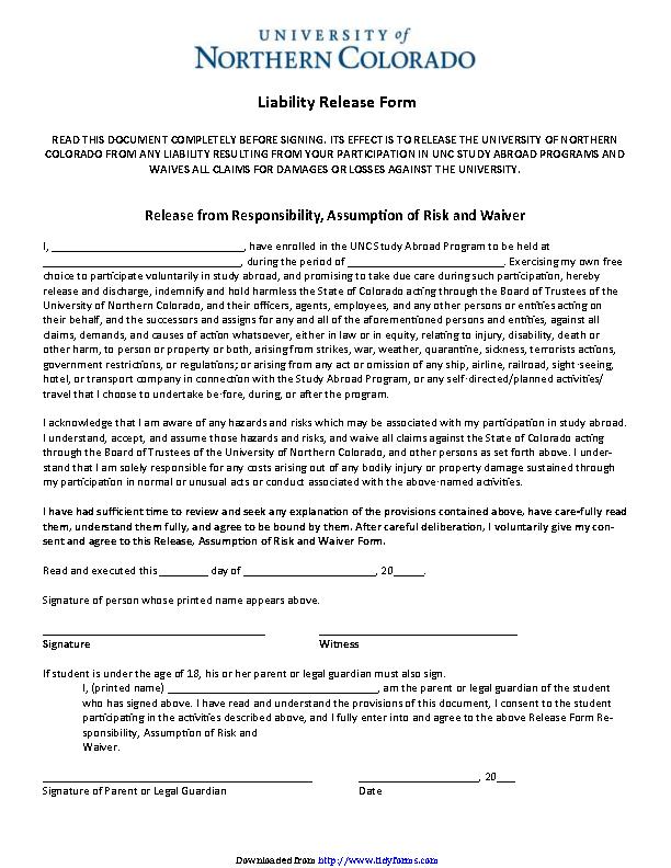 Colorado Liability Release Form
