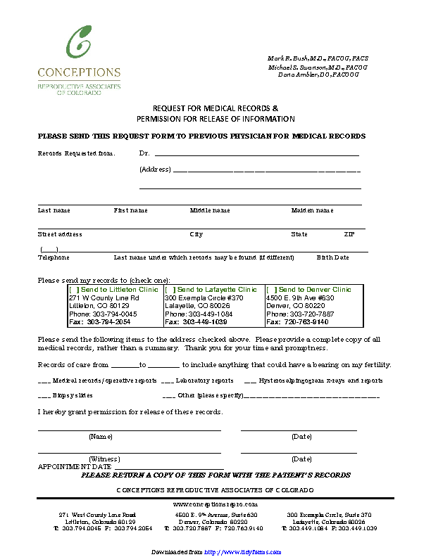 Colorado Medical Records Release Form 1