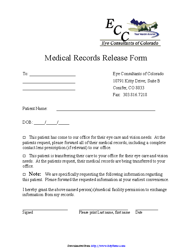 Colorado Medical Records Release Form 3