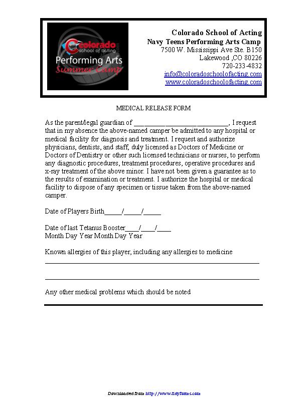 Colorado Medical Release Form 1