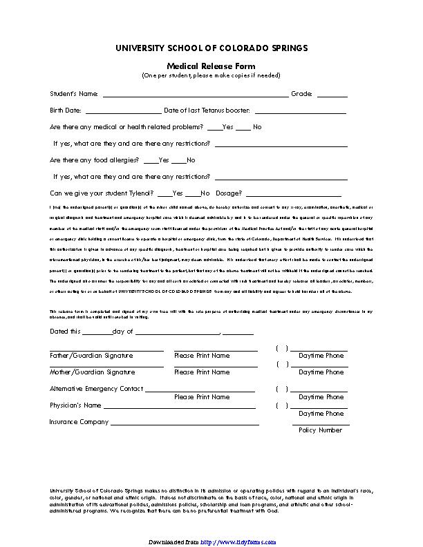 Colorado Medical Release Form 2