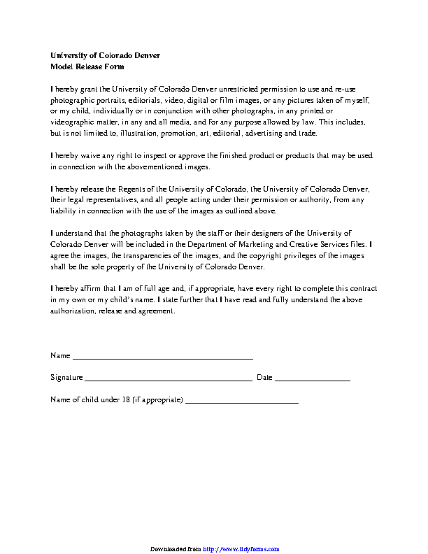 Colorado Model Release Form 1