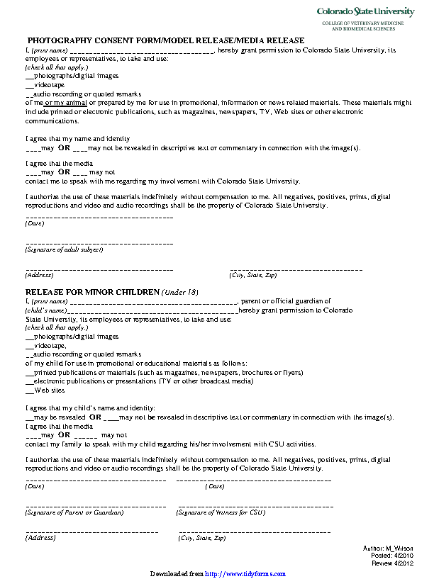 Colorado Model Release Form 2