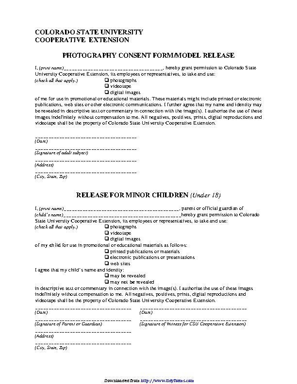 Colorado Model Release Form 3