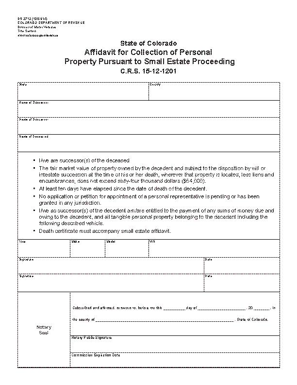 Colorado Motor Vehicle Affidavit Form Dr2712