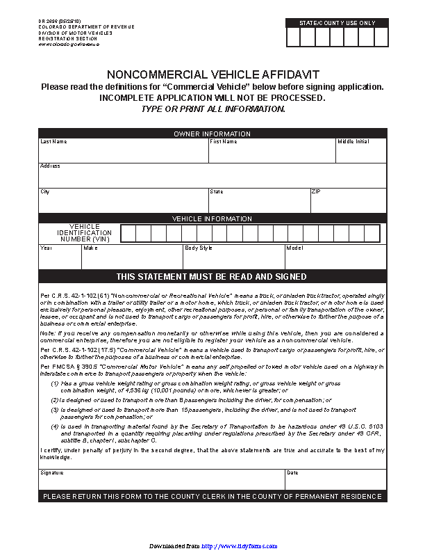 Colorado Noncommercial Vehicle Affidavit Form