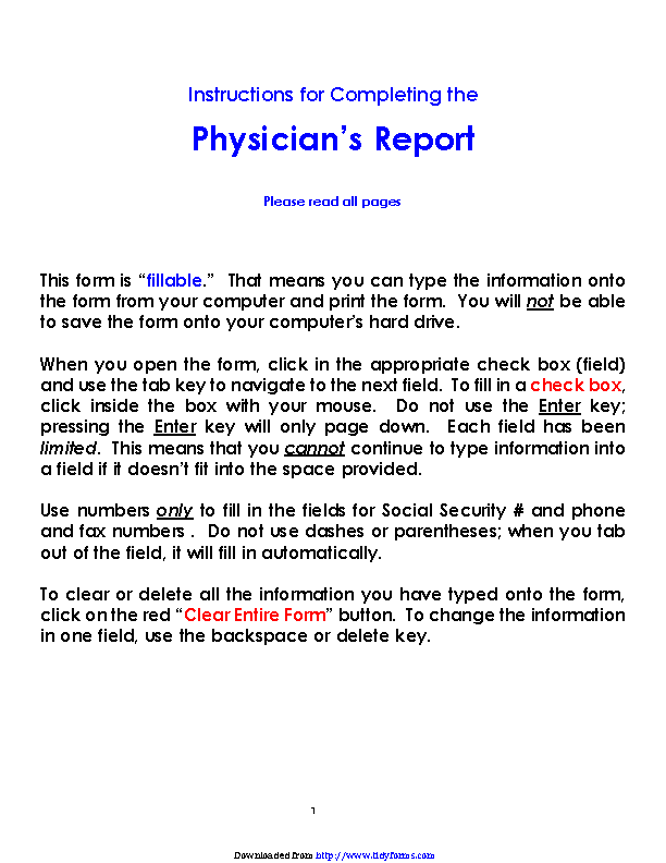 Colorado Physicians Report Form