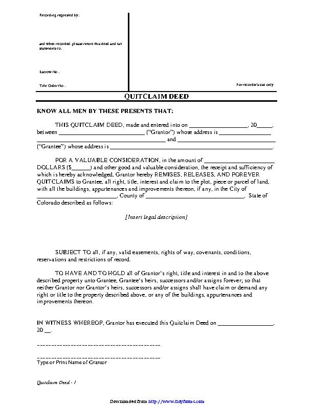 quit claim deed form colorado  Colorado Quitclaim Deed Form 11 - PDFSimpli