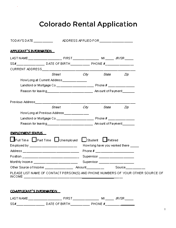 Colorado Rental Application Form