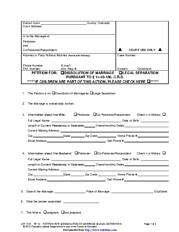 Colorado Separation Agreement Template