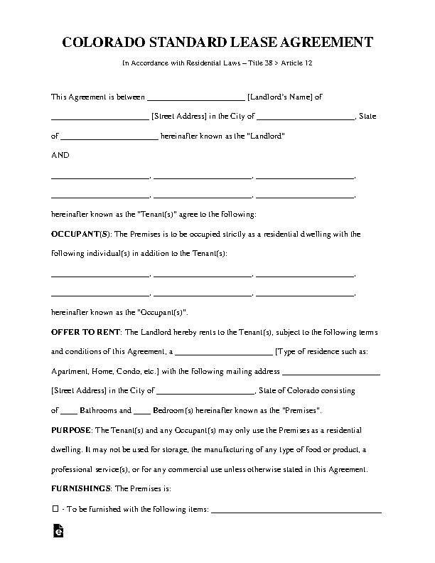 Colorado Standard Lease Agreement Template