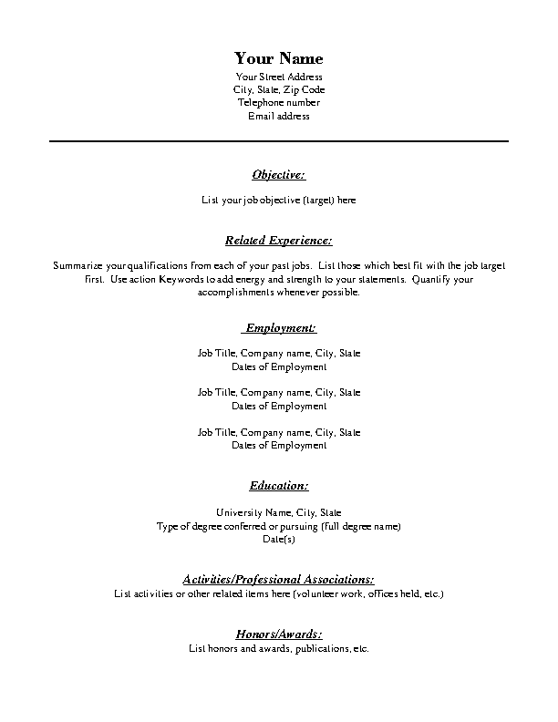 Combination Format Blank Resume Template Free Pdf Pdfsimpli