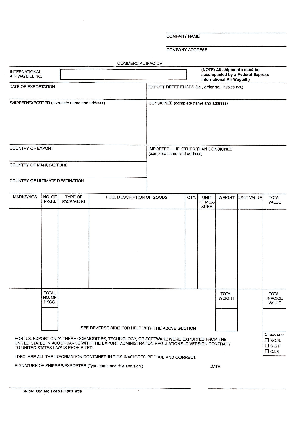 Commercial Invoice Receipt Template