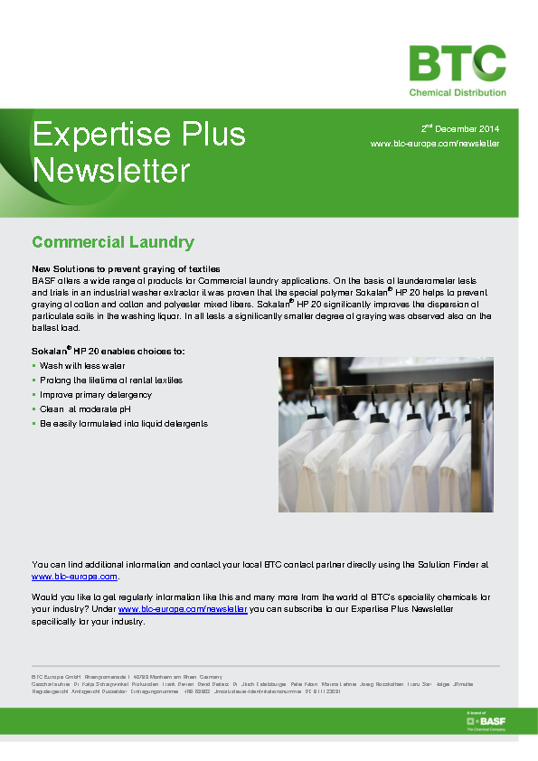 Commercial Laundry Newsletter