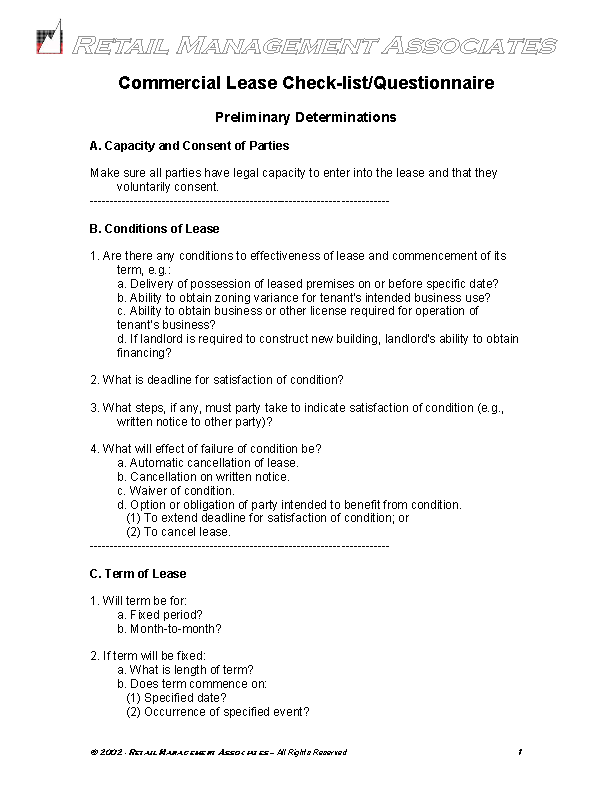 Commercial Lease Questionnaire