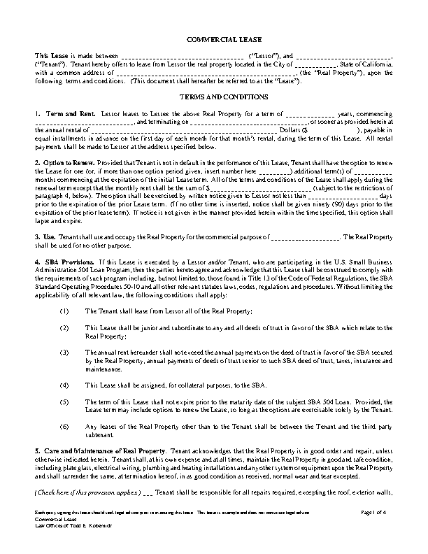 Commercial Property Lease Template1