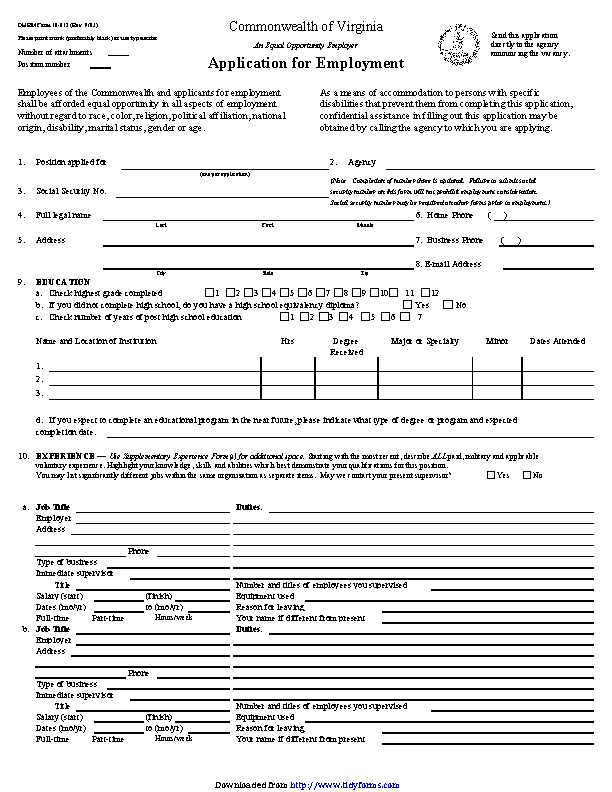 Commonwealth Of Virginia Application For Employment
