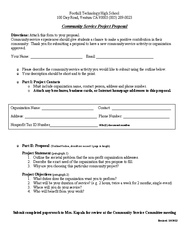 Community Service Project Proposal Template