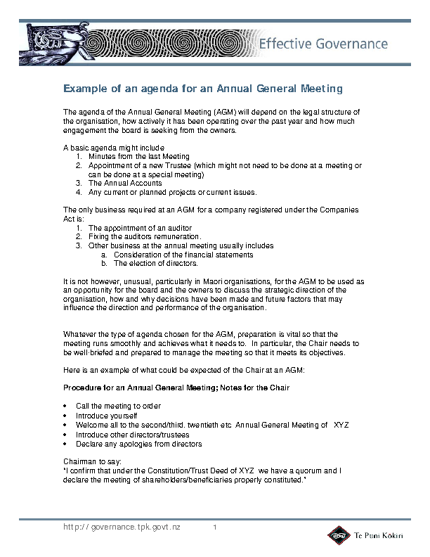 Company Annual General Meeting Agenda Template