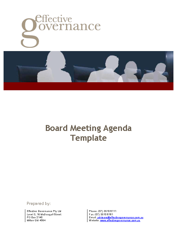 Company Board Meeting Agenda Template