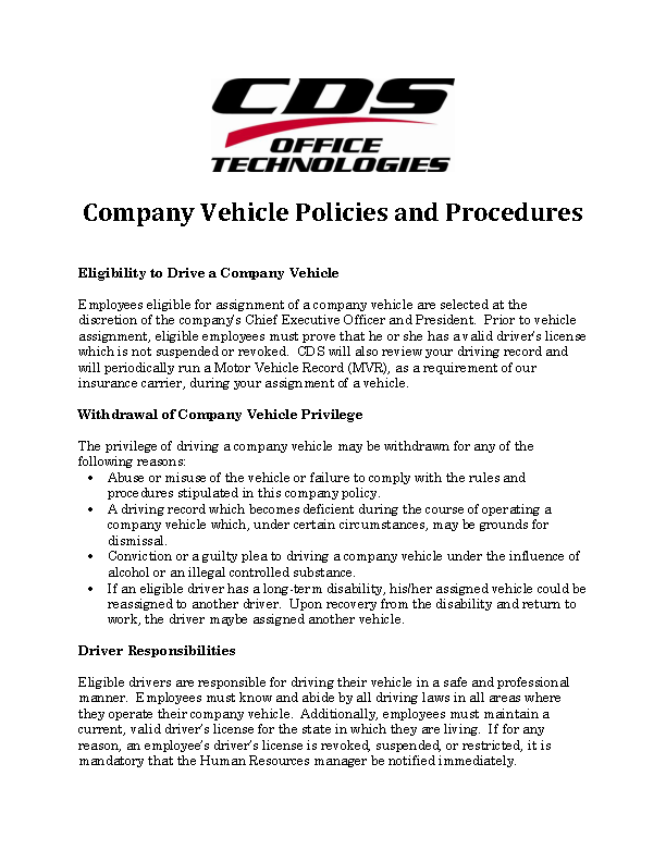 Company Car Policy Template Pdfsimpli