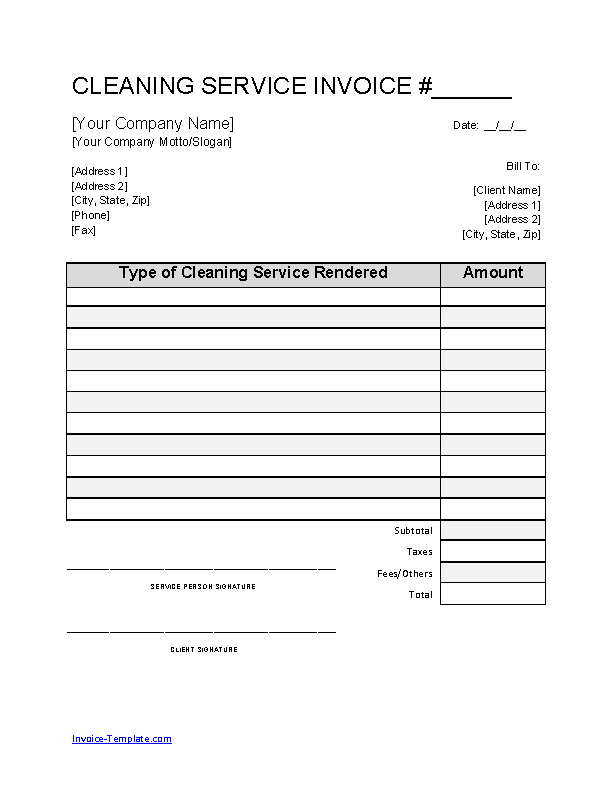 Company Cleaning Invoice Template