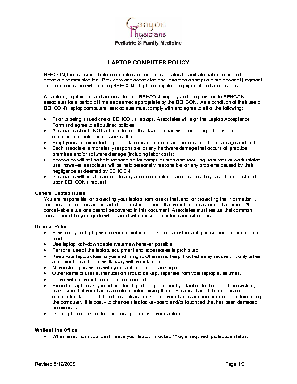 Company Laptop Policy Template