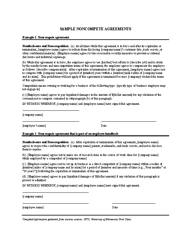 Company Non Compete Agreement Form