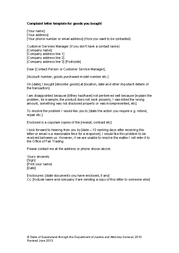Complaint Letter Resolution For Employees Word Example