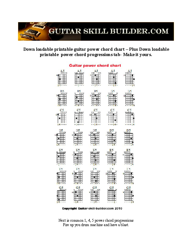 Complete Guitar Power Chord Chart Sample