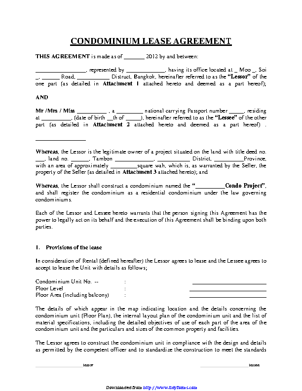 Condominium Lease Agreement