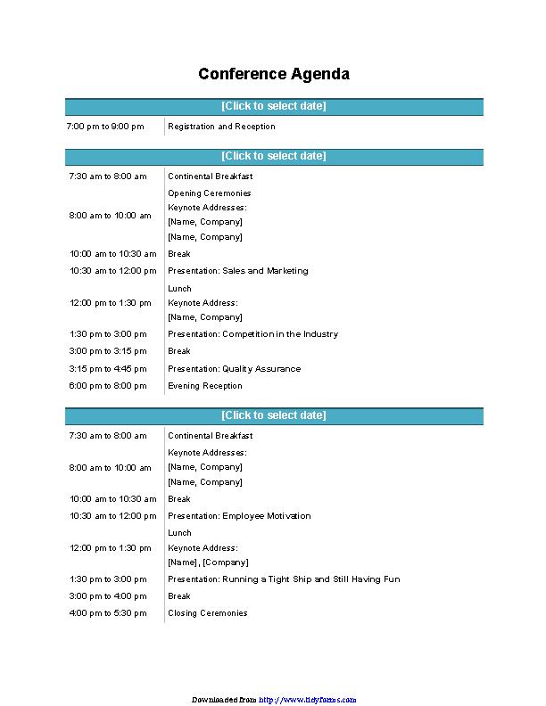 Conference Agenda Template 1