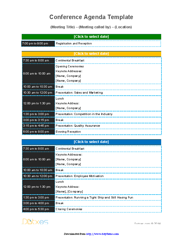 Conference Agenda Template 2